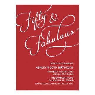 Rojo 50 e invitaciones fabulosas del cumpleaños invitación 13,9 x 19,0 cm