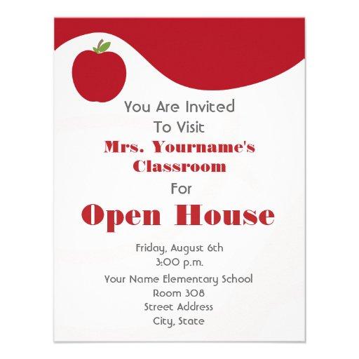 Rojo abierto Apple de la Casa de la sala de clase/ Invitación