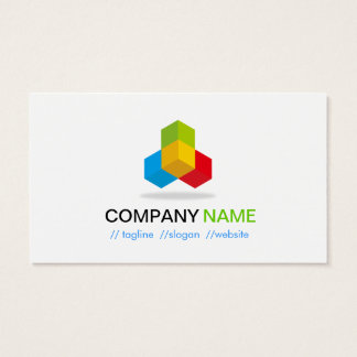 Rojo amarillo azulverde de 4 colores - logotipo tarjeta de negocios