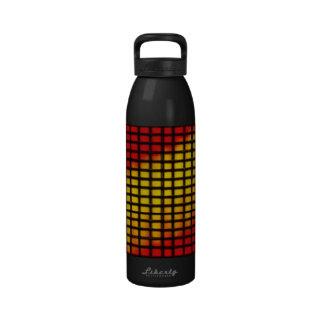 Rojo amarillo y caliente detrás de barras negras botella de beber