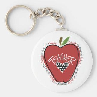 Rojo Apple del maestro de jardín de infancia Llavero Personalizado