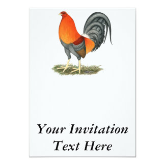 Rojo azul del gallo de pelea invitación 12,7 x 17,8 cm