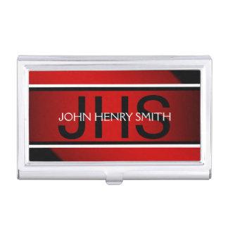 Rojo blanco del negro del monograma de los hombres cajas de tarjetas de presentación