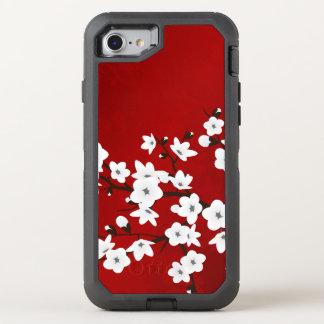 Rojo blanco del negro floral de las flores de funda OtterBox defender para iPhone 7