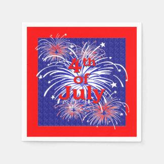 Rojo, blanco y azul 4to de los fuegos artificiales servilletas desechables