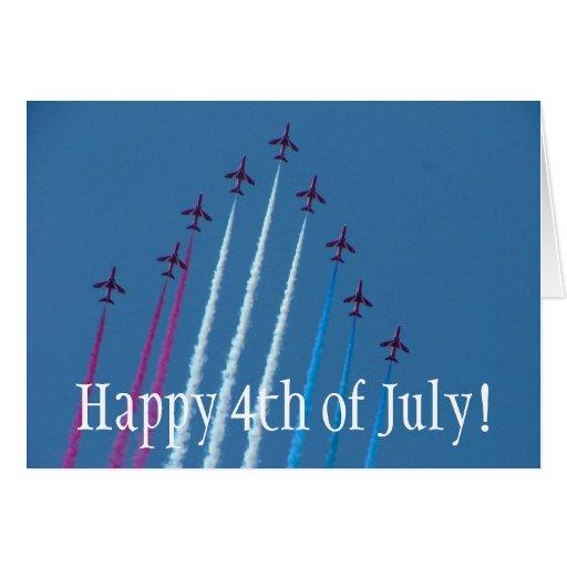 ¡Rojo, blanco y azul, felices el 4 de julio! Felicitacion