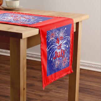 Rojo, blanco y azul que estalla los fuegos camino de mesa