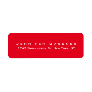 Rojo brillante elegante lindo elegante moderno etiqueta de remitente