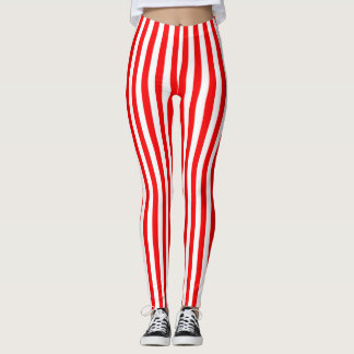 Rojo brillante rayado leggings