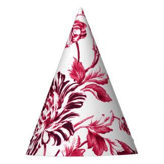 Rojo cereza Toile floral No.2 Gorro De Fiesta