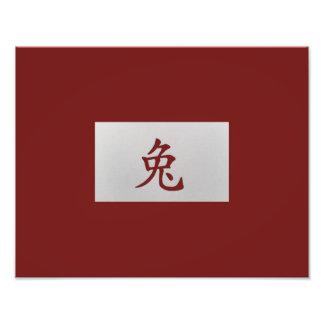Rojo chino del conejo de la muestra del zodiaco arte con fotos