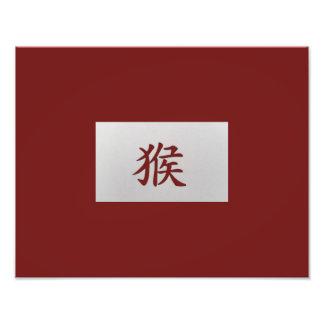 Rojo chino del mono de la muestra del zodiaco impresiones fotograficas