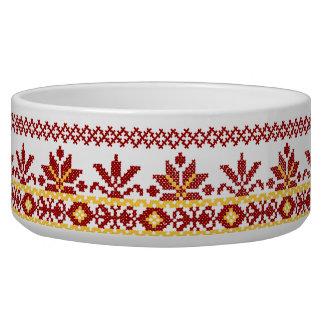 Rojo cruzado ucraniano de la puntada del cuenco de comedero para mascota