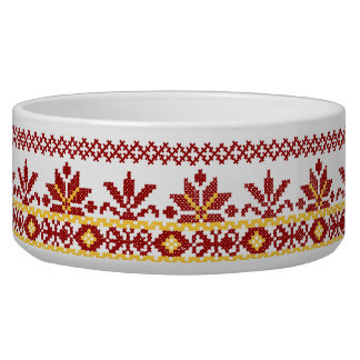 Rojo cruzado ucraniano de la puntada del cuenco de tazón para perro