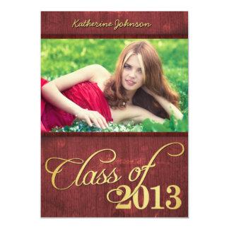 Rojo de Borgoña y clase elegantes del oro de 2013 Invitación 12,7 X 17,8 Cm