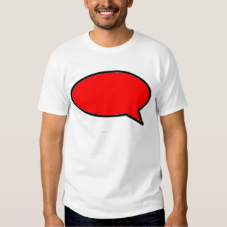 Rojo de la derecha de la burbuja de la palabra los camiseta
