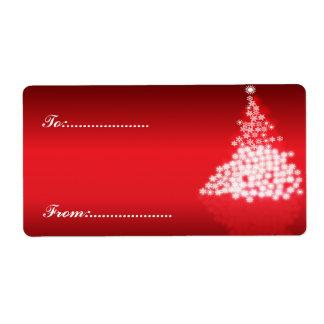 Rojo de la etiqueta #2 del regalo de Navidad Etiquetas De Envío