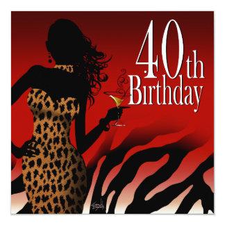 Rojo de la fiesta de cumpleaños de la cebra de la invitación 13,3 cm x 13,3cm