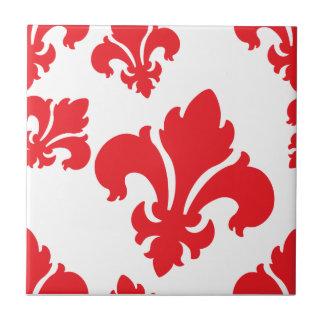 Rojo de la flor de lis 4 tejas  cerámicas