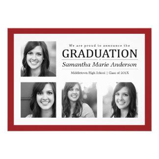 Rojo de la invitación de la graduación del collage