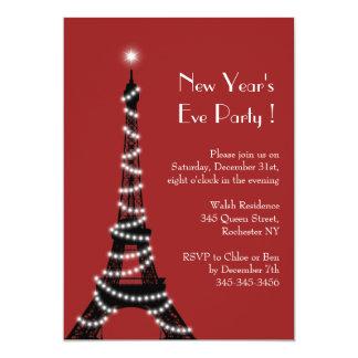 Rojo de la invitación de la torre Eiffel del Año