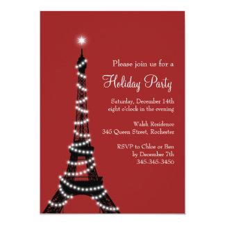 Rojo de la invitación de la torre Eiffel del día