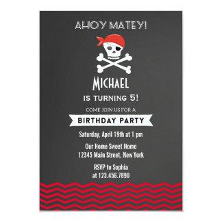 Rojo de la invitación del cumpleaños del pirata de invitación 12,7 x 17,8 cm