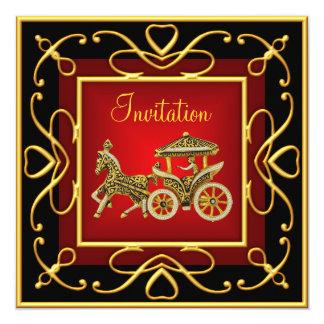 Rojo de la invitación del fiesta del carro del oro