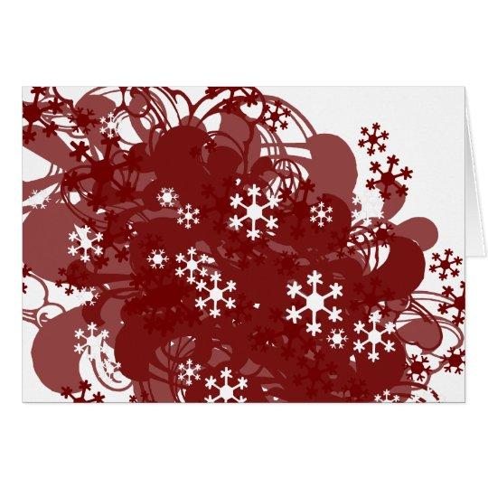 Rojo de la nieve que remolina tarjeta de felicitación