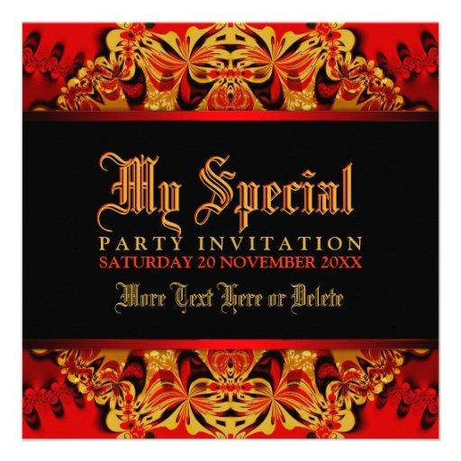 Rojo de la selva del batik+Invitación negra del fi