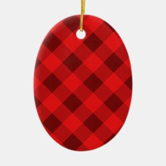 Rojo de la tela escocesa 2 adorno ovalado de cerámica