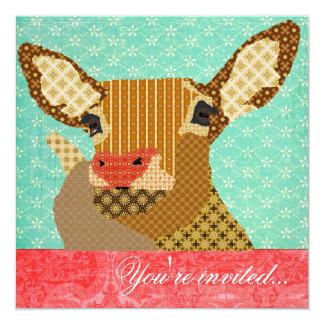 Rojo de la turquesa de Rudolph del reno Invitación Personalizada
