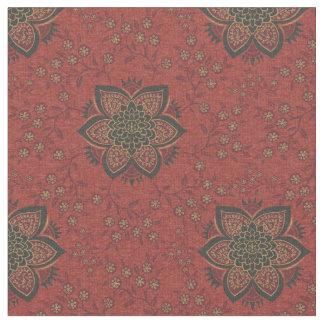 Rojo de ladrillo Damaskish floral Telas