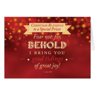 Rojo de las bendiciones del navidad del sacerdote, tarjeta de felicitación