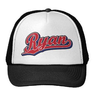 Rojo de lujo de Ryan en logotipo azul de la escrit Gorra