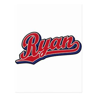 Rojo de lujo de Ryan en logotipo azul de la escrit Postal