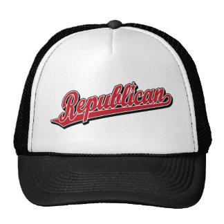 Rojo de lujo del logotipo republicano de la escrit gorra