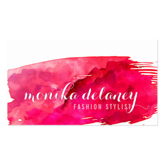 Rojo de moda creativo elegante de la PINCELADA de Tarjetas De Visita