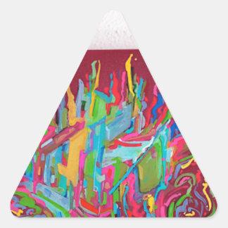 rojo de pintura del caos de la lona pegatina triangular