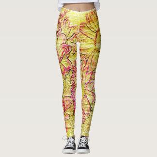 Rojo del amarillo de las polainas de la pintada leggings