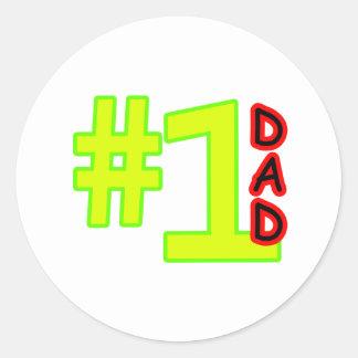 Rojo del amarillo del día de padre #1 los regalos pegatina redonda