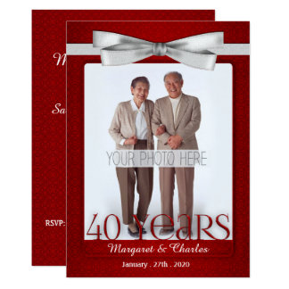rojo del aniversario de boda 40-Years y blanco de Invitación 12,7 X 17,8 Cm