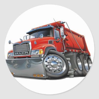 Rojo del camión volquete de Mack Pegatinas Redondas