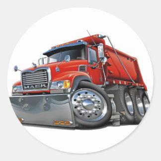 Rojo del camión volquete de Mack Pegatina Redonda