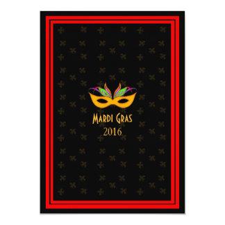 Rojo del carnaval del jazz de New Orleans Invitación 12,7 X 17,8 Cm
