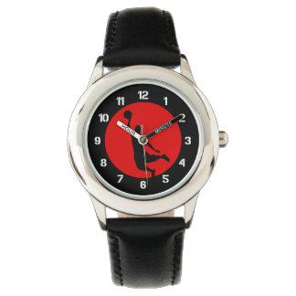 Rojo del círculo del baloncesto relojes de pulsera