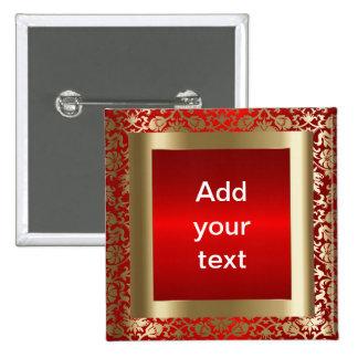 Rojo del damasco y texto del oro el   DIY Chapa Cuadrada