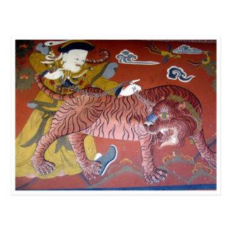 rojo del dzong del tigre postal