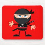 Rojo del guerrero de Ninja del dibujo animado Alfombrillas De Raton