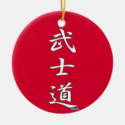 Rojo del KANJI de BUSHIDO Ornamento Para Arbol De Navidad